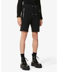 Balmain Black Brand-embossed Cotton-jersey Shorts for men