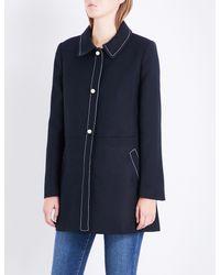 Claudie Pierlot Blue Contrast-stitch Woven Jacket