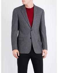 Armani - Gray Birdseye Wool-blend Blazer for Men - Lyst