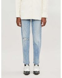 Mother Blue The Tripper Straight High-rise Jeans