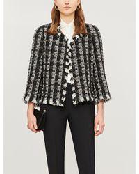 Oscar de la Renta Black Checked Sequin-embellished Tweed Jacket