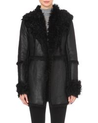 French Connection - Black Toscana Sheepskin Coat - Lyst
