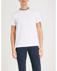 c5068e43a Lyst - Moncler Striped-trim Cotton-jersey T-shirt in White for Men