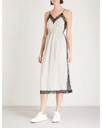 Sandro - Multicolor Lace-trim Striped Satin Dress - Lyst
