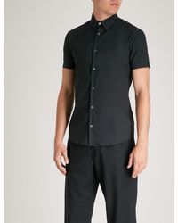 Emporio Armani Blue Slim-fit Cotton-blend Short Sleeves Shirt for men