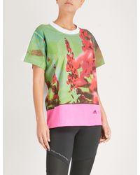 Adidas By Stella McCartney Pink Nature-print Jersey T-shirt