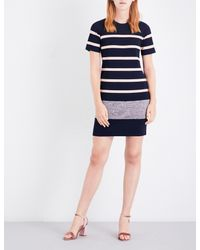 Whistles Blue Striped Knitted Dress