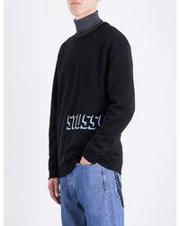 Stussy Black Embroidered Shadow Logo Jersey Sweatshirt for men