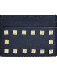 Valentino - Blue Studded Card Holder - Lyst