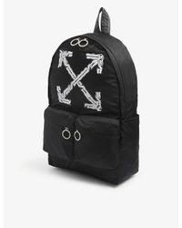 Off-White c/o Virgil Abloh Black Airport Tape Brand-print Satin Backpack