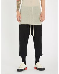 Rick Owens Black Drawstring Relaxed-fit Cropped Wool Trousers for men