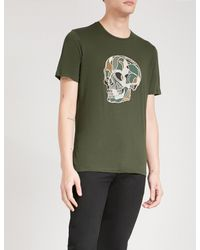 The Kooples Green Skull-embroidered Cotton-jersey T-shirt for men