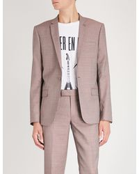 The Kooples Pink Geometric-print Slim-fit Wool And Cotton-blend Jacket for men