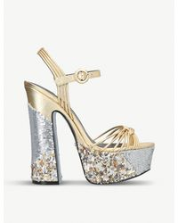 Kurt Geiger - Carlisle Metallic And Sequin-embellished Platform Sandals - Lyst