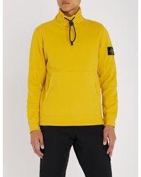 Stone Island Yellow Funnel-neck Cotton-jersey Sweatshirt for men