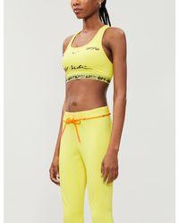 NIKE X OFF-WHITE Yellow Brand-print Scoop-neck Stretch-woven Bra