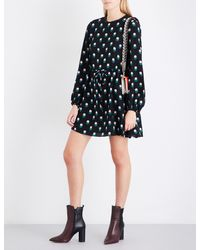 Diane von Furstenberg Black Printed Silk-crepe De Chine Mini Dress