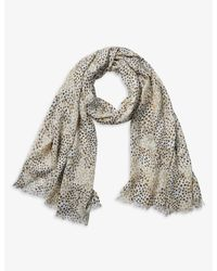 The White Company Multicolor Spot-print Wool-blend Scarf