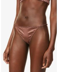 LoveStories Brown Roomie Mid-rise Stretch-satin Thong