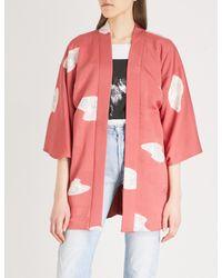 Elizabeth and James Pink Vintage Floral-jacquard Kimono Jacket