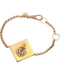 Annina Vogel - Metallic 9ct Rose-gold Rose-cut Diamond Anchor Guard Bracelet - Lyst