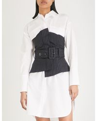 Mo&co. - Blue Strapless Belted Striped Wool Top - Lyst