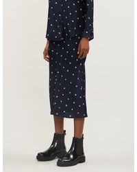Joseph Blue Frances Scribble Spot Silk Skirt