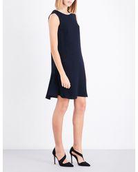 Claudie Pierlot Blue Button-detail Flared-hem Crepe Dress