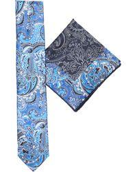 Brioni - Blue Floral Silk Pocket Square And Tie Set for Men - Lyst