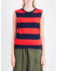 Izzue | Red Striped Cutout-detail Cotton-jersey Top | Lyst