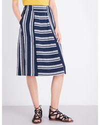 Whistles Blue Adina Striped Woven Skirt