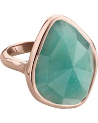 Monica Vinader Metallic Siren 18ct Rose Gold Vermeil And Amazonite nugget Cocktail Ring