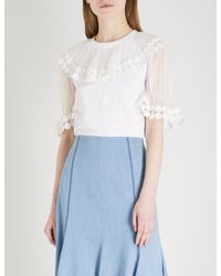 Chloé White Frilled-neck Embroidered Cotton And Silk Top