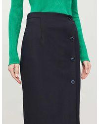 Whistles Black Anita Asymmetric-hem Woven Midi Skirt