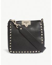 Valentino Black Grained Rockstud Leather Satchel