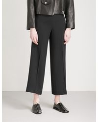 Theory - Black Terena Straight Mid-rise Crepe Trousers - Lyst