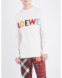 Loewe White Logo-appliquéd Cotton And Silk-blend Top for men
