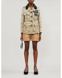 Miu Miu Multicolor Camouflage-print Crystal-embellished Cotton Jacket