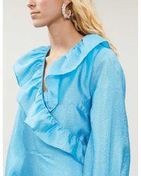 Stine Goya Blue Steffi Ruffled-trim Metallic Midi Dress