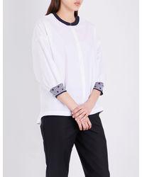 St. John - White Contrast-trim Cotton-blend Top - Lyst