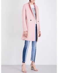 Harris Wharf London - Pink Double-breasted Wool Coat - Lyst