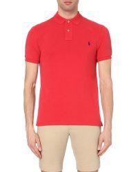 Polo Ralph Lauren - Red Slim-fit Cotton-piqué Polo Shirt for Men - Lyst