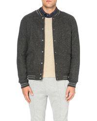 Polo Ralph Lauren Gray Striped-trim Wool Bomber Jacket for men