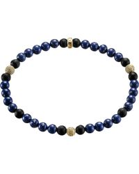 Thomas Sabo | Metallic Rebel At Heart Gold-plated Sterling Silver And Obsidian Beaded Bracelet | Lyst