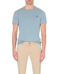 Polo Ralph Lauren - Blue Custom-fit Logo Cotton-jersey T-shirt for Men - Lyst