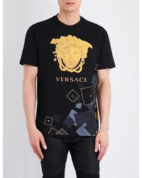 Versace | Black Deconstructed-medusa Cotton T-shirt for Men | Lyst