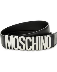 Moschino Black Letters Leather Belt