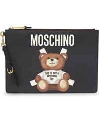 Moschino Black Toy Bear Leather Pouch