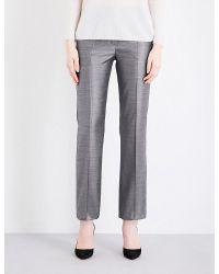 Max Mara | Gray Alessia Wool-blend Trousers | Lyst