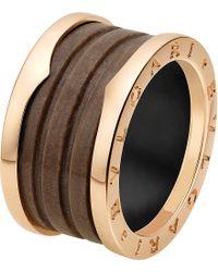BVLGARI Metallic B.zero1 Four-band 18kt Pink-gold And Brown Marble Ring